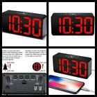 Compact Digital Alarm Clock with USB Port Bedroom Bedside Clocks Red Free Ship