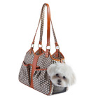 Petote Metro Couture Leather Trim Dog Carrier, Tangerine, Small