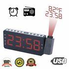 USB 7 Inch Led Digital Projection Alarm Clock Radio with Large Display FM-Radio