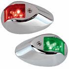 PERKO 0602DP2CHR LED SIDE LIGHTS 24V RED / GREEN W/ CHROME HOUSING