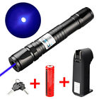 Military 20 Miles 405nm Blue Purple Laser Pointer Pen Visible Beam+18650+Charger