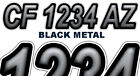 BLACK METAL Boat Registration Numbers PWC Decals Stickers Graphics CF, NV AZ...