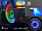 4pcs Blue LED Tyre Tire Valve Caps Neon Light Bike Car motorcycle