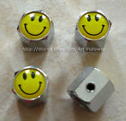 1 Set Brand New yellow SMILE FACE Anti-Theft Locking Tire Air Valve Caps 1sets