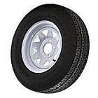 "(4) ST215/75R14 Goodyear Marathon Radial Tires On 14"" 5 Lug White Spoke Wheels"