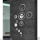 Modern 3D DIY Wall Clock Silver Mirror Surface Sticker Home Office Room Decor