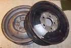 flathead ford pair 16 X 4 1/2   1940 - 48 rims wheels stock steel  both W/logos