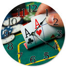 "PAIR OF ACES Clock - Large 10.5"" Wall Clock - Texas Holdem - 2270"