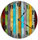 "COLORED WOOD BOARDS Clock - Large 10.5"" Wall Clock - 2272"
