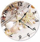 "SEA SHELLS Sand STARFISH Clock - Large 10.5"" Wall Clock - 2106"