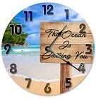"""The OCEAN IS CALLING You Clock - Large 10.5"""" Wall Clock - 2093"""
