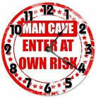 """MAN CAVE Enter At Your Own Risk Clock - Large 10.5"""" Wall Clock - 2075"""