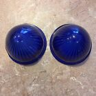 LOOK! Vintage PAIR old cab marker BLUE LAMP Truck