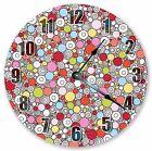 """10.5"""" MULTICOLOR CIRCLES CLOCK - Large 10.5"""" Wall Clock Home Décor Clock - 3013"""