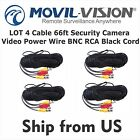 4x 66ft CCTV Video Power Wire BNC RCA Black Cord verify HDTVI/AHD/CVBS AC2060BX4