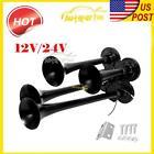 Universal 4-Trumpet Air Horn Kit For Car Truck Train Boat 150 dB 12V/24V Black