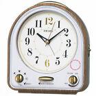 New SEIKO PYXIS Disney 31 Melodies Alarm Clock Auto Stop White Wood Tone QM747B