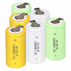 3Color 6pcs 1.2V 1300mAh Sub C SC Ni-Cd NICD Rechargeable Battery With Tap Set