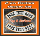 """Custom Embroidered 13"""" Top And Bottom MC Rocker Patches 2 pc Biker Club Cut Vest"""
