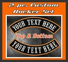 """MC ROCKER PATCHES 13"""" CUSTOM EMBROIDERED 2 PIECE SET TOP AND BOTTOM MOTORCYCLE"""