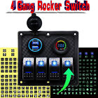 4 Gang Rocker Switch Panel Voltmeter Double USB Charger Marine Boat Accessories