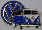 VW KOMBI VAN BLUE LAPEL PIN BADGE --  DOUBLED PINNED. --- E010902  --