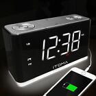 iTOMA Alarm Clock Radio Digital FM Radio Dual Alarm Cell Phone USB Charge Por...