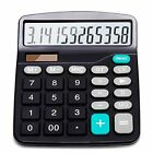Basic Office Calculator 12 Digit Solar Battery Dual Power Large LCD Display Home