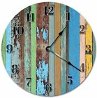 """10.5"""" WORN OUT PAINTED WOOD BOARDS CLOCK - Large 10.5"""" Wall Clock - 4078"""