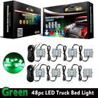 Universal 8PC Pickup Truck Bed 48 LED Cargo Area Rear Light Kit Green Waterproof