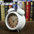 1Pc Non-ticking Quartz Analog Twin Bell Alarm Clock With Nightlight White A