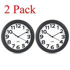 New 10 inch Hippih Silent Wall Clock Atomic with Numbers Plastic Black 2 Pack