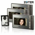ZOTER 7 inch LCD TFT Video Door Bell Phone Intercom 600TVL IR Camera 3x Monitors