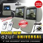 "(Pair) New AZUR 9"" TFT LCD Grey Car DVD Player Leather Headrest Monitor (Japan)"