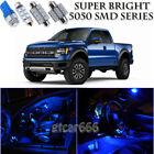 For Ford F-150 2010-2014 Blue LED Interior Light Kit + License Plate Light 10PC