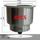 8PCS Stainless Steel Cup Drink Holder Marine Boat Car Truck Camper RV Fine
