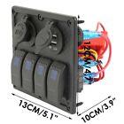 4 Gang Rocker LED Switch Panel Breaker Car Marine Boat Circuit 2 USB Waterproof