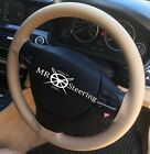 FOR VW GOLF MK6 BEIGE LEATHER STEERING WHEEL COVER BEIGE DOUBLE STITCH 2009-2013