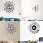 DIY Large Wall Clock 3D Diamond Metal Art Sticker Home Living Room Decor