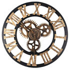 Antique Wall Clock Rustic Roman Numerals Wheel Gear Round Silent Wooden W