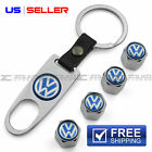VOLKSWAGEN VALVE STEM CAPS + KEYCHAIN WHEEL TIRE CHROME - US SELLER VS28