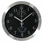 Silent Non-ticking WALL CLOCK Aluminum Frame Glass Cover 10 inches Large Numbers