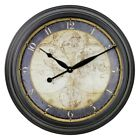 Aspire Ethan Old Map 23 in. Wall Clock, Matte Black