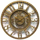 Infinity Instruments-Gear Dial 15.5 Inch Wall Clock, Antique Gold
