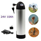 24V10Ah Sliver Bottle Lithium Electric E-bike Battery Bicycles 200W + US Charger