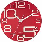 """Modern Wall Clock Red Glass 12"""" Quiet For Home Office Kitchen Living Room Decor"""