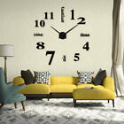 Large Acrylic Modern DIY Wall Clock 3D Mirror Surface Stickers Home Office Decor