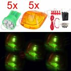 5X Green LED Amber Cab Marker Roof Light Lens Lamp +Wiring Switch For Car Truck
