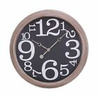 Kiera Grace Numbers Wall Clock, 16-Inch, 2-Inch Deep, Antique Gray Wash Brown