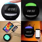 Alarm Clock AM FM Radio Wireless Bluetooth Speaker Aux USB Charger Night Light